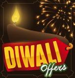 Tag mit einem beleuchteten Diya und Feuerwerke für Diwali-Angebote, Vektor-Illustration Lizenzfreie Stockfotografie