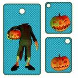 Tag ou etiquetas de Halloween com abóbora Imagens de Stock