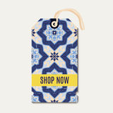 Tag with Portuguese blue ornament azulejos. Stock Photography