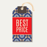 Tag with Portuguese blue ornament azulejos. Royalty Free Stock Image