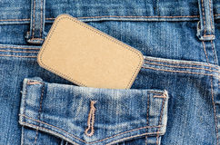 Tag price in pocket blue jean. Stock Photography