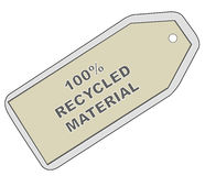 Tag that it recycled. Tag with words - 100% recycle material - vector Royalty Free Stock Images