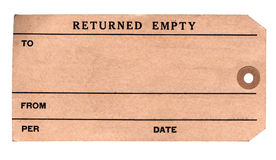 Tag retornado os anos 30 do pacote Foto de Stock