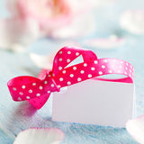 Tag with ribbon. And copy space Royalty Free Stock Image