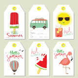 Tag sale in summer with ice cream,balloon,sun,van Royalty Free Stock Images