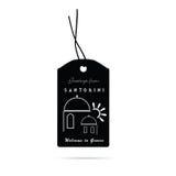Tag with santorini greek island icon illustration Royalty Free Stock Photography