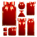 Tag set. Red tag set with bow, this illustration may be usefull as designer work vector illustration