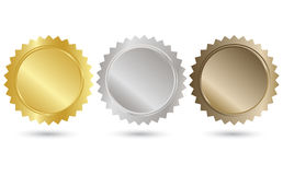 Tag set. Golden, Silver and Bronze Tag set on white background vector illustration