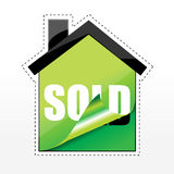 Tag of sold in shape of house Royalty Free Stock Photo