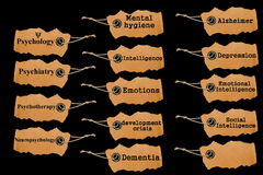 TAG, symbols of mental disorders. Symbols of mental disorders on cardboard tag isolated on white surface Stock Photography