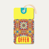 Tag with Talavera, Mexican bright ornament Royalty Free Stock Image