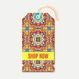 Tag with Talavera, Mexican bright ornament Royalty Free Stock Photos