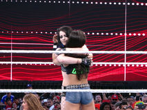 Tag team partners AJ Lee and Paige hug after match at Wrestleman Stock Images