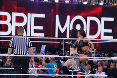 Tag team partners Diva's AJ Lee and Paige sit on ropes in ring Stock Photography
