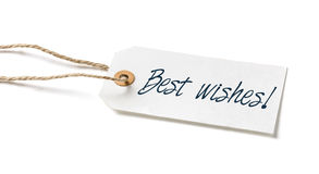Tag with the text Best wishes. Tag on a white background with the text Best wishes royalty free stock photography