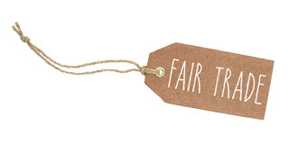 Tag with the text Fair Trade. Tag on a white background with the text Fair Trade stock photo