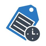 Tag time glyph color vector icon stock illustration