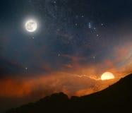 Tag trifft sich Nacht lizenzfreie stockfotografie