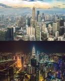 Tag und Nacht Kuala Lumpur-Skyline, Ansicht der Stadt, Wolkenkratzer mit einem schönen Himmel Kuala- LumpurStadtbild lizenzfreies stockbild