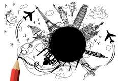 Tag und Nacht Reisenauslegung durch kreativen roten Bleistift Lizenzfreies Stockfoto