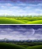 Tag und Nacht rollende Landschaften Lizenzfreie Stockfotos