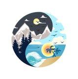 Tag und Nacht ying Yang-Illustration lizenzfreie abbildung