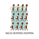 Tag 12 von Weihnachten - Trommeln mit zwölf Schlagzeugern Stockbild