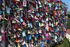 Tag wall, Two Lovers Point, Guam. Fence full of love tags located at Two Lovers Point in Tumon Bay, Guam. Two Lovers Point is a landmark to a Chamorro love story Stock Photos