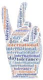 Tag or wor cloud international tolerance day related Royalty Free Stock Photography