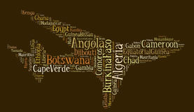 Tag or word cloud Africa related in shape of airplane Royalty Free Stock Images