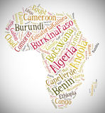 Tag or word cloud Africa related in shape of continent Royalty Free Stock Images