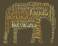 Tag or word cloud Africa related in shape of elephant Royalty Free Stock Images