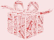 Tag or word cloud boxing day related in shape of gift box Royalty Free Stock Photography