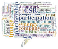 Tag or word cloud business related in shape of callout. Illustration of word related with business vector illustration