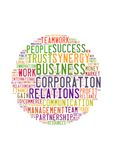 Tag or word cloud business related in shape of circle Royalty Free Stock Images