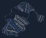 Tag or word cloud Christmas related in shape of santa claus Royalty Free Stock Photos