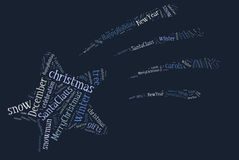 Tag or word cloud Christmas related in shape of star Royalty Free Stock Photography