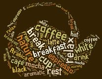 Tag or word cloud coffee drinking related in shape of teapot or Royalty Free Stock Photography