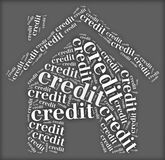 Tag or word cloud credit related in shape of house Stock Image