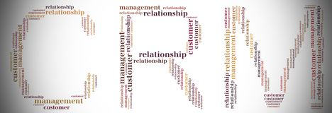 Tag or word cloud CRM related in shape of CRM Royalty Free Stock Photos