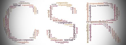 Tag or word cloud CSR related in shape of CSR Royalty Free Stock Images