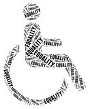 Tag or word cloud disability related. Tag cloud disability related in shape of human on wheelchair Stock Images