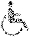 Tag or word cloud disability related. Tag cloud disability related in shape of human on wheelchair Royalty Free Stock Photo