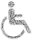 Tag or word cloud disability related. Tag cloud disability related in shape of human on wheelchair Stock Photo