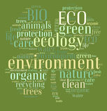 Tag or word cloud ecology related in shape of clover Royalty Free Stock Images