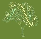Tag or word cloud ecology related in shape of tree Stock Images