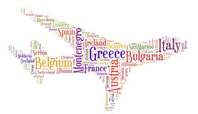Tag or word cloud Europe travel related in shape of airplane Stock Photos