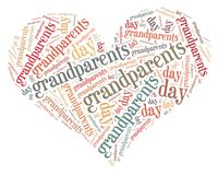 Tag or word cloud Grandparents day related in shape of heart Royalty Free Stock Photos