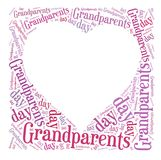 Tag or word cloud Grandparents day related in shape of heart Royalty Free Stock Image