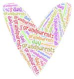 Tag or word cloud grandparents day related in shape of hearth Stock Image